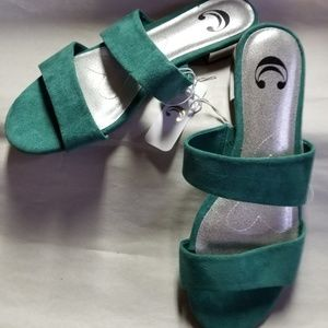 Charming Charlie Sandals, Green and Silver